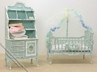 Miniature Decorated Green Crib and Hutch for Dollhouses