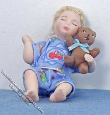 Blond Haired Infant Sleeping with Teddy Bear by Patsy Thomas