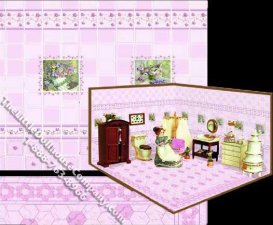 Dollhouse Scale Model Wall and Floor Tiles Set