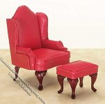 Miniature Padded Red Wing Chair w/Ottoman for Dollhouses