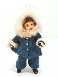 Red-head Girl Porcelain Doll in Blue Winter Outfit by Joy Parker