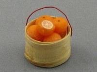Dollhouse Scale Model Basket with Oranges