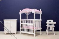 Miniature Three Piece White Nursery Set for Dollhouses