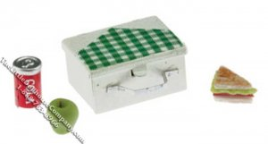 Miniature Lunch Box w/ Sandwich, Apple, & Cola for Dollhouses