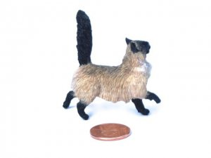 Dollhouse Scale Siamese Cat