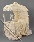 Miniature Peach Coloured Lace Covered Crib by Serena Johnson