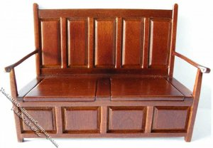 Miniature Walnut Monks Bench for Dollhouses