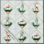 Dollhouse Scale Model Hunting Themed Decorative Wall Tiles
