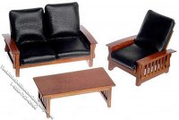 Dollhouse Scale Model 3pc Walnut Sofa Set