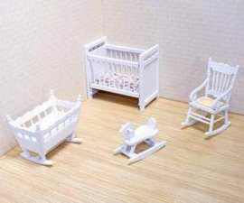 Dollhouse Miniature Nursery Furniture Set