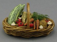Dollhouse Scale Model Basket with Vegetables