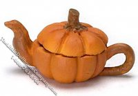 Miniature Pumpkin Shaped Tea Pot for Dollhouses