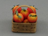 Dollhouse Scale Model Square Basket with Peaches