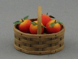 Dollhouse Scale Model Oval Basket with Apples