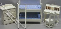 Miniature 5 Piece White Bunkbed Set for Dollhouses