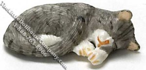 Dollhouse Scale Model Sleeping Gray Cat