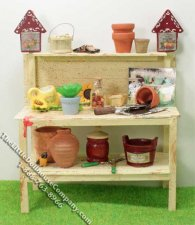 Miniature Potting Table with Accessories for Dollhouses
