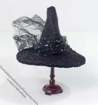 Black Witch Style Hat by Bette Jo Chudy for Dollhouses