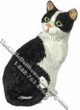 Dollhouse Scale Model Black & White Cat Looking Back