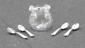 Miniature Glass Spooner With 4 Teaspoons For Dollhouses