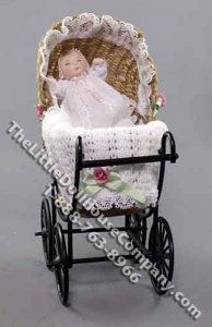 Miniature Baby in Wicker Pram by Patsy Thomas for Dollhouses