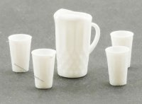 Dollhouse Scale Model White Pitcher with four Glasses