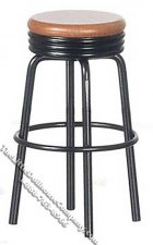 Miniature 1950's Black/Oak Stool for Dollhouses