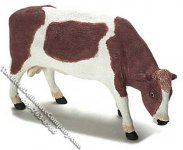 Dollhouse Scale Model Brown & White Cow Grazing
