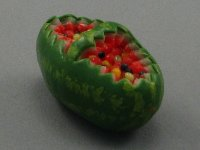 Dollhouse Scale Model Watermelon Filled with Fruits