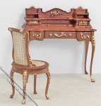 Miniature Walnut Desk & Chair Set w/Gold Trim for Dollhouses