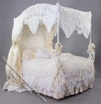 Miniature 4 Poster Bed w/Pillows & Lace Covers by Serena Johnson