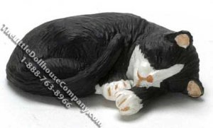 Dollhouse Scale Model Sleeping Black with White Socks Cat