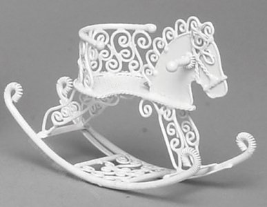 Miniature White Metal Rocking Horse for Dollhouses