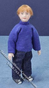 Miniature Redheaded Child in Blue Sweater by Cindy's Dolls