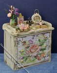 Miniature Dresser with Flower Motif for Dollhouses