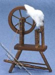 Miniature 3 Legged Walnut Spinning Wheel for Dollhouses