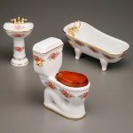 Miniature Dresden Rose Bath, Sink and Low Toilet for Dollhouses