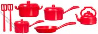 10 Pieces Red Kitchenware For Dollhouses