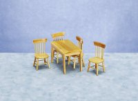 Miniature Oak Table and 4 Chairs Set for Dollhouses