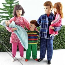Five Person Family Flexible Dolls by Erna Meyer for Dollhouses