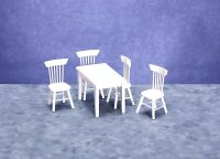 Dollhouse Miniature White Table with Chairs Set