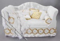 Miniature White Sofa with Gold Pillows by Serena Johnson