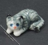 Miniature Laying Gray Cat Statuette for Dollhouses
