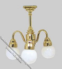 Miniature 1/2 Scale 12v Three Globe Chandelier for Dollhouses
