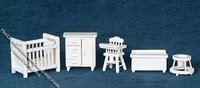"Miniature White 1/2"" Scale Baby Room Set for Dollhouses"