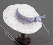 Ladies White Hat w/Blue Ribbon by Judith Blondell for Dollhouses