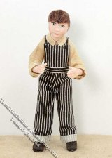 Brown Haired Boy Wearing Striped Overalls by Patsy Thomas
