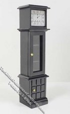 Miniature Black Grandfather Clock with Storage for Dollhouses