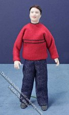 Miniature Brown Haired Man in Red Sweater by Cindy's Dolls