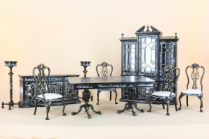7 Piece Black/Hand Painted Miniature Dining Room Set